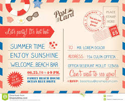 Vintage Summer Holiday Postcard Background Template For Invitati ...