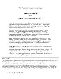 Letter Of Recommendation For A Dentist Recommendation For Dental Inspections Screenings