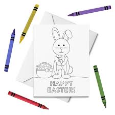 Free printable father's day cards. Printable Happy Easter Coloring Card Easter Bunny Card Holiday Greeting Card For Kids Color Your Own Card Diy Print Color By Tickled Peach Studio Catch My Party
