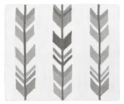 grey and white accent floor rug or bath mat for woodland arrow collection by sweet jojo