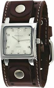 details about nemesis bsth516s men s dark brown wide leather cuff band og silver dial wat