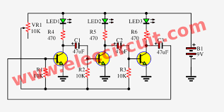 led flasher circuit by transistors astable multivibrator three led flasher by 3 transistor astable multivibrator