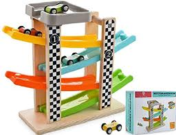 wooden ramp racer race track toy car vehicle activity playset with 4 cars and parking garage for toddlers kids boys and girls 18 months and older