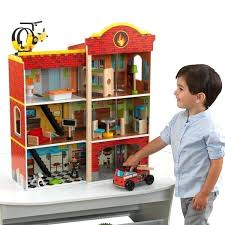3 story wooden fire station set kidkraft deluxe