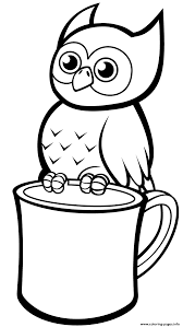 Owl coloring pages for kids to print and color. Cute Owl On A Mug Coloring Pages Printable