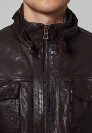 fitted boss orange joetze leather jacket brown men