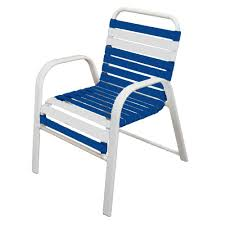 marco island white commercial grade aluminum patio dining chair with blue and white vinyl straps