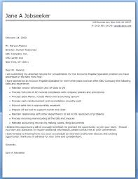 Accounts Payable Cover Letter Cover Letter Accounts Payable
