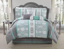 7 piece queen alieli gray mint comforter set
