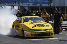 pro stock driver jeg coughlin jr performs a burnout before his semifinal race during the