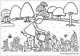 Marvelous Idea Flower Garden Coloring Page Pages Printable Image