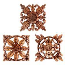 balinese hand carved wood fl relief
