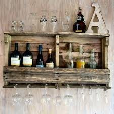 rustic wood wall mounted wine glass rack for wine glass organizer idea