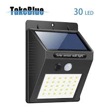 takeblue 30 led solar lights outdoor 3 intelligent modes waterproof solar powered motion sensor