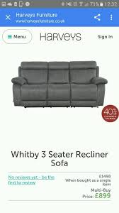 harveys whitby recliner sofa and chair faux suede as new