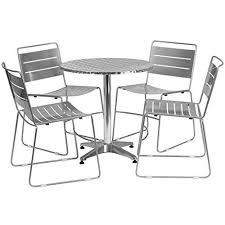 mfo 27 5 round aluminum indoor outdoor table with 4 silver metal aluminum tables and chairs