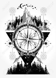 Mountains And Antique Compass Tattoo Art