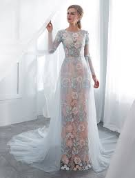Light Blue Wedding Dress With Sleeves Colored Wedding Dresses Baby Blue Lace Long Sleeve Bridal Dress With Train