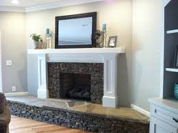 Stone Fireplace Remodel Brick Wall And Fireplace Covered With Sheetrock And Stone My