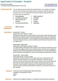 Cashier Resume Template Legal Cashier Cv Example Learnist Org