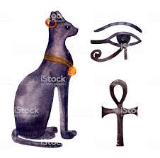 Bastet Egyptian Cat Watercolor Symbol Egypt Stock Illustration