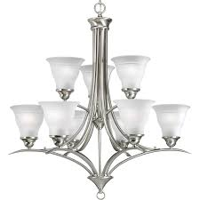 progress lighting trinity 30 in 9 light brushed nickel etched glass tiered chandelier