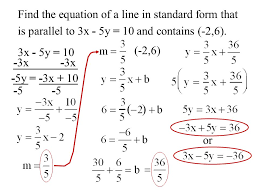find the equation of a line in standard form that