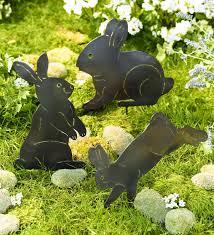metal bunny silhouettes garden decor set of 3