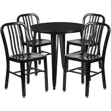 30 round black metal indoor outdoor table set with 4 vertical slat back chairs