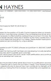 Quality Control Inspector Cover Letter Formatted Templates Example