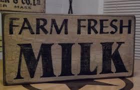 Rustic Chic Kitchen Decor Farm Fresh Milk Primitive Sign Crackle Painted Sign Kitchen Decor