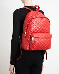 Moschino Quilted Leather Backpack in Red | Lyst & Gallery Adamdwight.com
