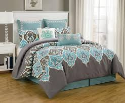 grey and teal king master bedroom
