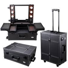 aw rolling studio makeup artist pvc cosmetic case w light mirror black train table