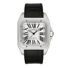 cartier watches ernest jones cartier santos 100 men s black leather strap watch product number 4838440