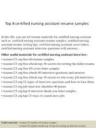 Sample Certified Nursing Assistant Resume Top 8 Certified Nursing Assistant Resume Samples