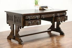 oak 1910 antique renaissance carved library writing desk sweden trestle base