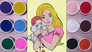 Đồ chơi trẻ em TÔ MÀU TRANH CÁT búp bê Barbie & cún cưng - Barbie colored  sand painting (Chim Xinh) - YouTube