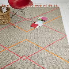 neon diamond wool rug heather gray pink west elm