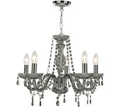 searchlight marie therese 5 light chandelier smoked grey finish with acrylic glass drops ts 8695 5gy