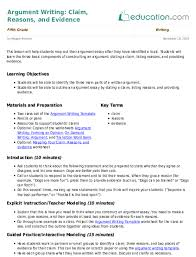 Argument Writing Claim Reasons Evidence Lesson Plan