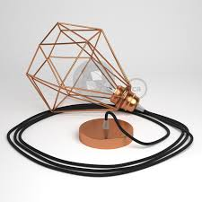 pendant lamp with diamond cage copper finish with rc04 black cotton cable jpg