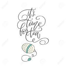 句お茶の時間クリップ アートを手書きコーヒー ショップのポスターベクトルは動機付けのタイポグ
