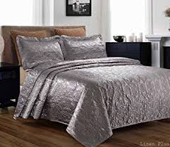 Amazon.com : 3 Piece Silky Satin Gray Quilted Bedspread Coverlet ... & 3 Piece Silky Satin Gray Quilted Bedspread Coverlet Set King Size Adamdwight.com