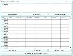 Free College Schedule Schedule Maker Template Class Schedule Template Free Maker