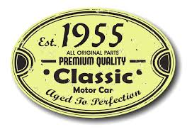 Classic Sticker Design Distressed Aged Established 1955 Aged To Perfection Oval Design For Classic Car External Vinyl Car Sticker 120x80mm