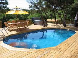 Swimming Pool : Good Looking Swimming Pool Deck Ideas With Above Ground Pool  Also Outdoor Dining Sets Over Yellow Patio Umbrella Plus Portable Jacuzzi  Cool ...