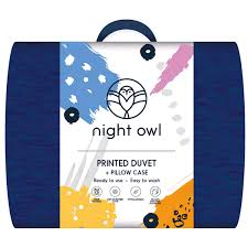 night owl printed duvet navy