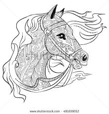 hand drawn doodle horse head ilration for coloring book page