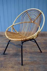 vintage satellite round circle bamboo cane wicker rattan tub chair mid  century vinterior